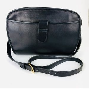 Vintage Coach Black Leather Classic Crossbody Bag